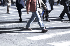 People on zebra crossing street Royalty Free Stock Photo