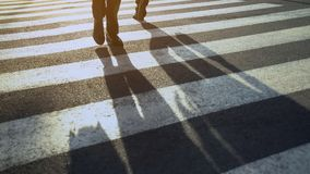 People on zebra crossing street hurrying home from office center routine day royalty free stock photography