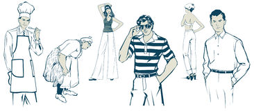 Peoples. In  cartoon style Stock Images