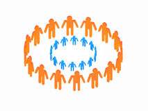 Peoples. Logotype blue circle in orange big circle Royalty Free Stock Photography