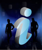 Peoples with 3d info sign. Peoples with 3d blue info sign in abstract background Stock Image