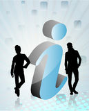 Peoples with 3d info sign. Peoples with 3d blue info sign in abstract background Stock Photo