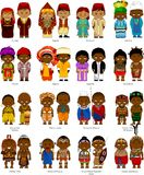 Peoples of Africa. African men and women in national traditional costumes,  and illustration Stock Images