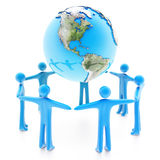 Peoples around the Earth planet on white. Peoples standing around the Earth planet holding hands, isolated on white background Stock Photography