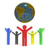 Peoples around the globe. 3D concept peoples around the globe Stock Image
