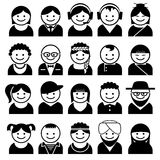 Peoples avatar icons. Set vector icons for people avatars Stock Photography
