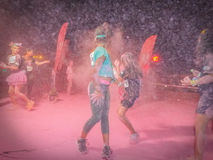 Peoples of the colors run night ,bucharest 2016 Royalty Free Stock Photography