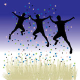 Peoples dance on meadow, night Stock Photos