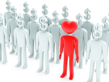Peoples with dollar-shaped and heart-shaped heads Stock Photography
