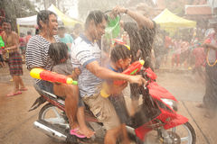 Peoples enjoy splashing water Songkran festival in Thailand. Stock Photo