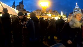 Peoples on the famous advent Christmas market at Wenceslas square stock video footage