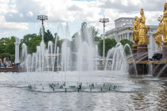 The Peoples Friendship Fountain in Exhibition of Achievements of National Economy. Royalty Free Stock Photo