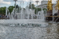 The Peoples Friendship Fountain in Exhibition of Achievements of National Economy VDNKh Royalty Free Stock Image