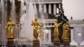 Peoples Friendship Fountain, Moscow stock video footage