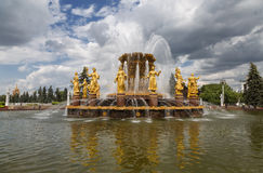 Peoples Friendship fountain in VDNKh - Exhibition Centre  in Moscow Royalty Free Stock Images