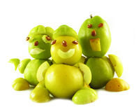 Peoples from fruits of quinces Royalty Free Stock Photos