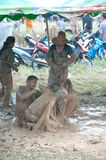 Peoples fun in mud. Royalty Free Stock Photo
