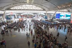 Peoples in guangzhou south railway station in national day of china. Guangzhou,china - oct,7,2017:peoples in guangzhou south railway station in national day of Royalty Free Stock Images