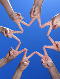 Peoples hands building star Royalty Free Stock Images