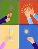 Peoples Hands with Objects Vector Illustration. Peoples hands with symbolic objects, firecracker and confetti, Bengal light and glass with champagne, applause Stock Images