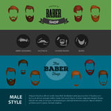 Peoples heirsyle icon, collection of beards and mustaches forbarber shop. Mans trendy haircut types for burber shop Stock Photo