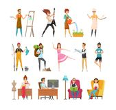 Peoples Hobbies Variety Set Vector Illustration. Peoples hobbies variety. Dress maker and artist painting picture. Musician playing guitar, woman watering plants royalty free illustration
