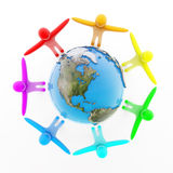 Peoples holding hands around the Earth. Multicolor peoples holding hands around the Earth, top view, isolated on white, 3d render Stock Photography