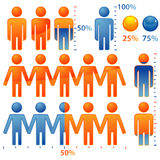 Peoples Icon. Set of icons peoples with percents the population, element for design, vector illustration Royalty Free Stock Photos