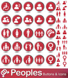Peoples icon and buttons. Set of people icons with red background Royalty Free Stock Images