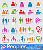 Peoples icon and buttons. Vector - illustration :  peoples icon and buttons in five colours Royalty Free Stock Photo
