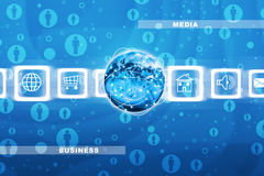 Peoples icons with Earth globe Royalty Free Stock Image