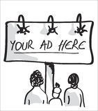 Peoples looking to a billboard advertising. Royalty Free Stock Images