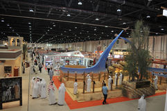 Peoples near Falcon Centre at Abu Dhabi International Hunting and Equestrian Exhibition (ADIHEX) Stock Images