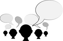 Peoples opinion. Black silhouette of people head with speech bubbles Royalty Free Stock Images