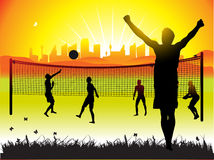 Peoples play volleyball,nature Stock Photography