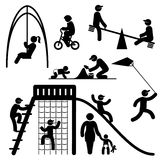 Peoples playground icons. Set black and white vector icons of people on children playground Royalty Free Stock Photography