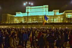 Bucharest protest, modifying the laws of justice Royalty Free Stock Image