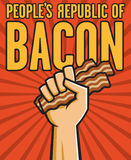 Peoples Republic of Bacon. Vector Illustration of a fist holding bacon in the style of Russian Constructivist propaganda posters Royalty Free Stock Photography