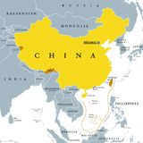 Peoples Republic of China, PRC, gray political map. Area controlled by China in yellow color, and claimed but uncontrolled regions shown in brown. English Stock Image