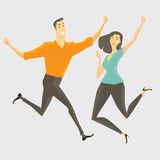 Peoples rights of happiness. A young man and young woman jumping, smiling and happy. Vecter Illustration Royalty Free Stock Photography