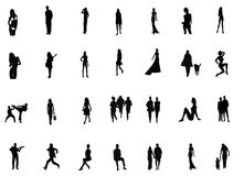 Peoples silhouettes Stock Photos
