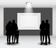 Peoples Silhouettes Looking on the Empty Frame in Art Gallery fo Stock Photo