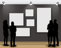 Peoples Silhouettes Looking on the Empty Frame in Art Gallery fo. R Images and Advertisement. Vector Illustrationr Stock Photography