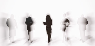 Peoples Silhouettes with shadows Royalty Free Stock Photo