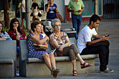 Peoples sitting in Seville 37 Stock Photo