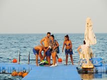 Peoples snorkeling at Red Sea - Sharm Elshiekh - Egypt Stock Photos