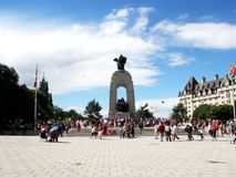 Ottawa on a sunny day. Peoples in the square enjoing a beautiful and warm Ottawa sunny day, great outing Stock Photography