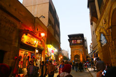 Peoples stroll at Old fatemid Cairo, Egypt Royalty Free Stock Photography
