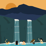 Peoples swim in waterfall boys and girls illustration Stock Images