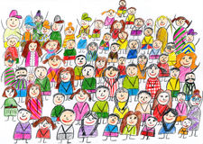 Peoples team group portrait, children drawing object on paper, hand drawn art picture Stock Image